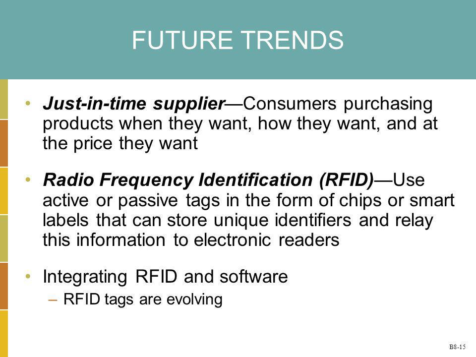 FUTURE TRENDS Just-in-time supplier—Consumers purchasing products when they want, how they want, and at the price they want.