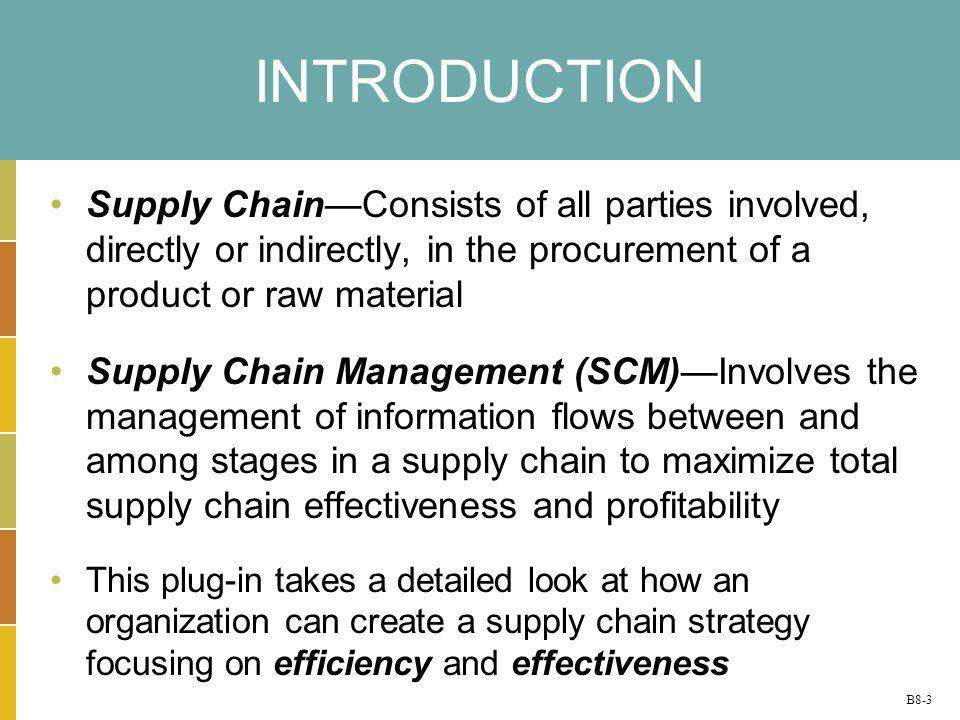 INTRODUCTION Supply Chain—Consists of all parties involved, directly or indirectly, in the procurement of a product or raw material.