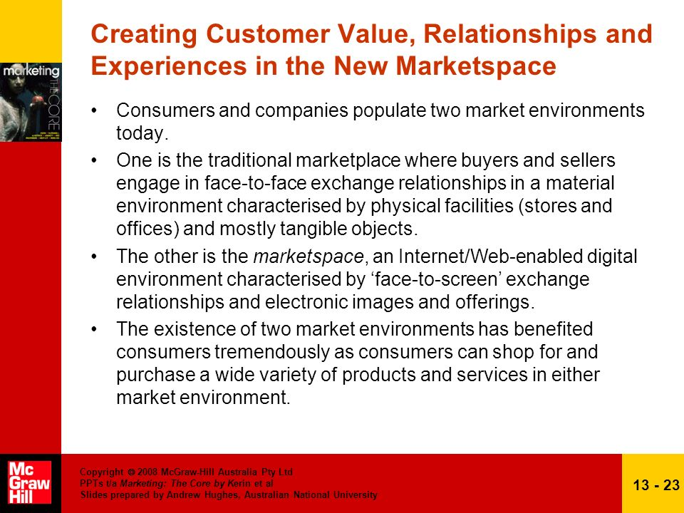 Creating Customer Value, Relationships and Experiences in the New Marketspace