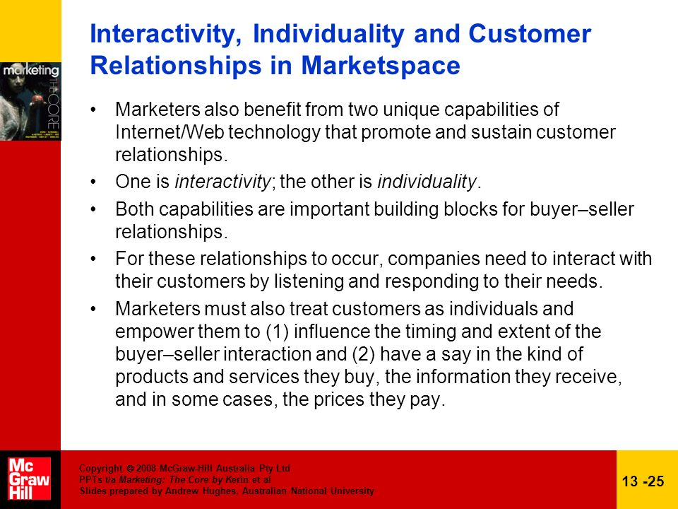Interactivity, Individuality and Customer Relationships in Marketspace