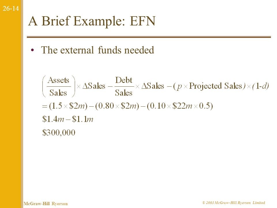 A Brief Example: EFN The external funds needed