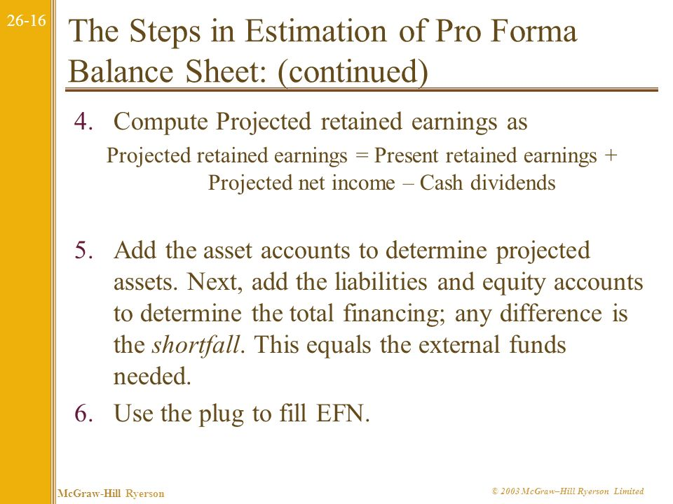 The Steps in Estimation of Pro Forma Balance Sheet: (continued)