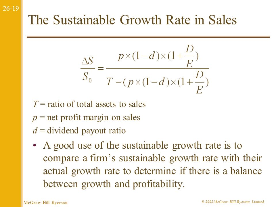 The Sustainable Growth Rate in Sales