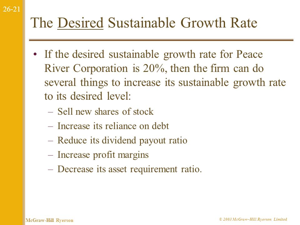 The Desired Sustainable Growth Rate