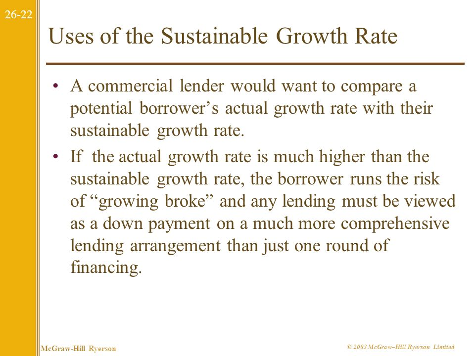 Uses of the Sustainable Growth Rate