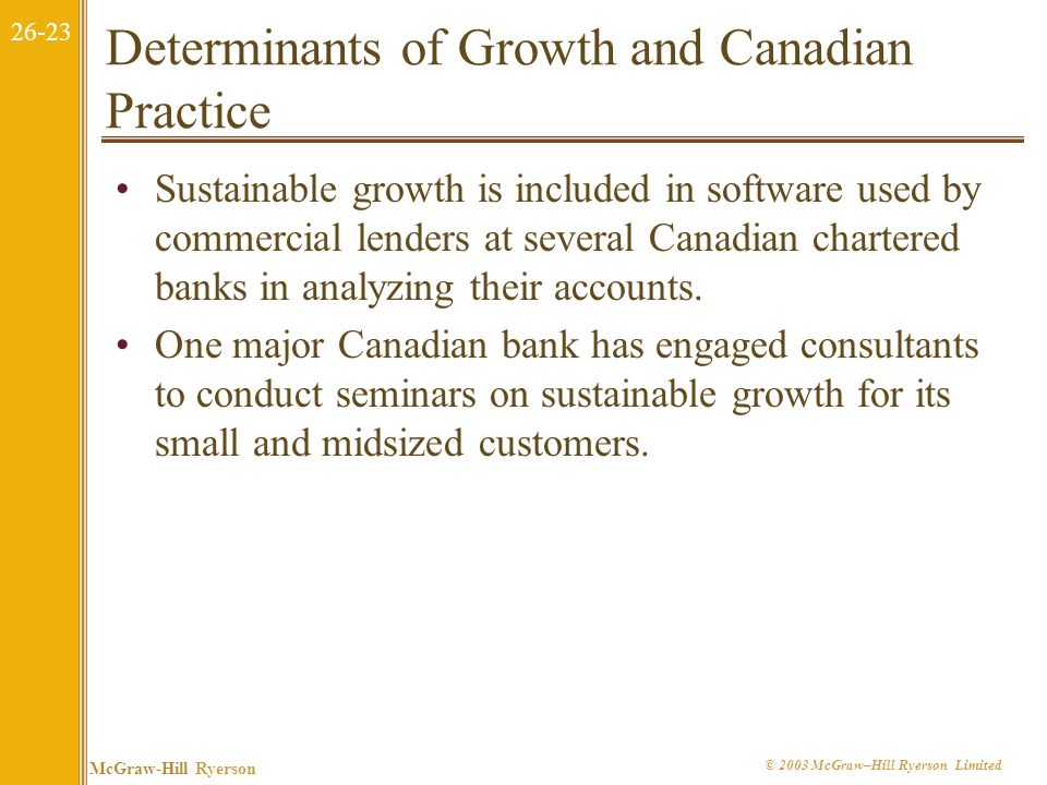 Determinants of Growth and Canadian Practice