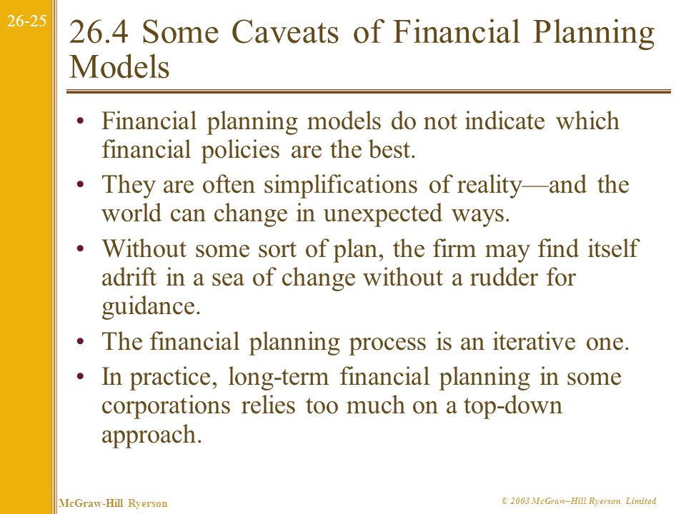 26.4 Some Caveats of Financial Planning Models