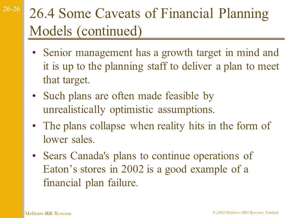 26.4 Some Caveats of Financial Planning Models (continued)