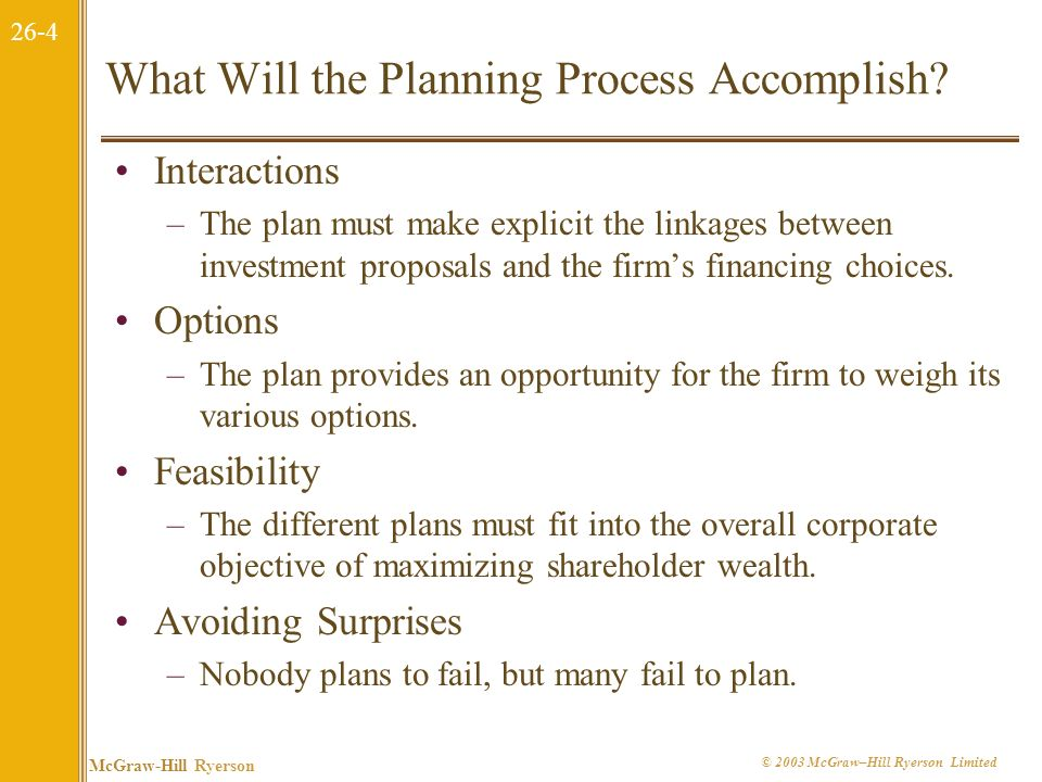 What Will the Planning Process Accomplish