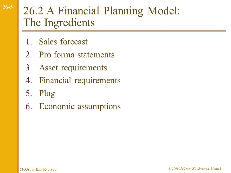 26.2 A Financial Planning Model: The Ingredients