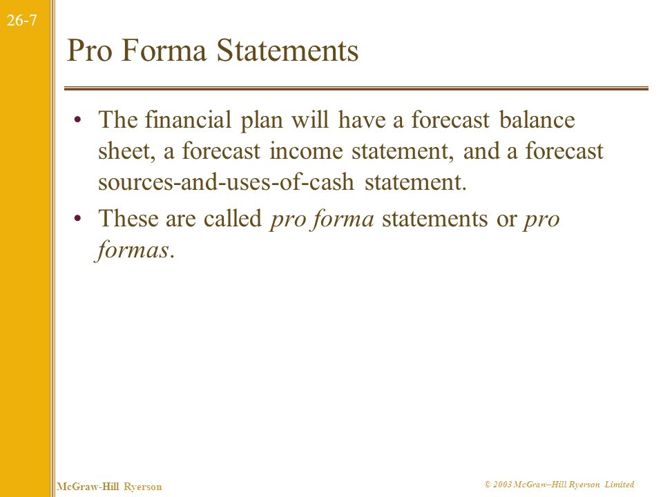 Pro Forma Statements