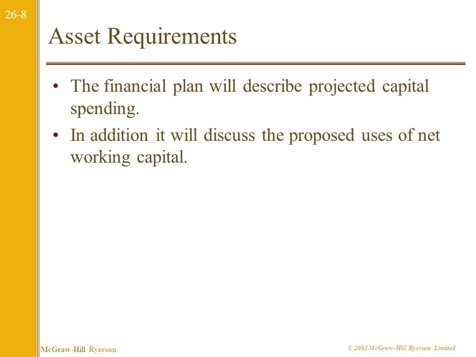 Asset Requirements The financial plan will describe projected capital spending.