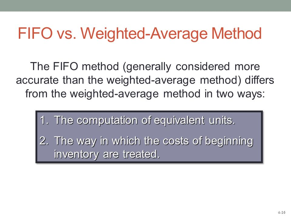 FIFO vs. Weighted-Average Method