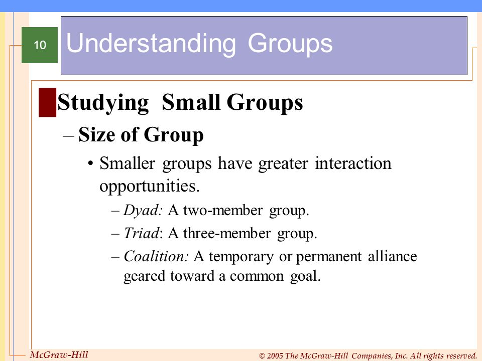Understanding Groups Studying Small Groups Size of Group