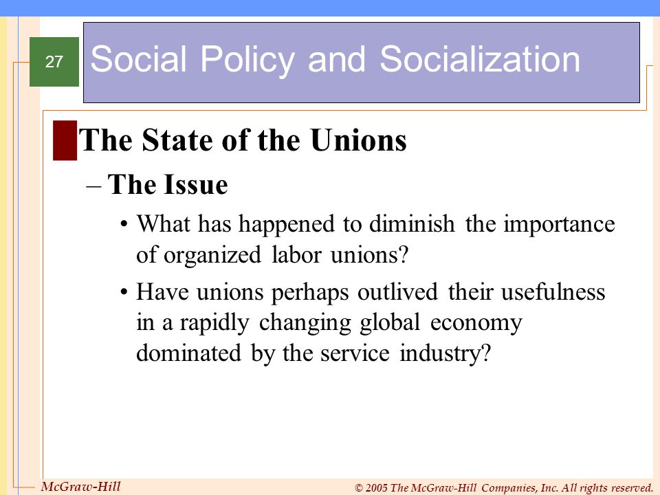 Social Policy and Socialization
