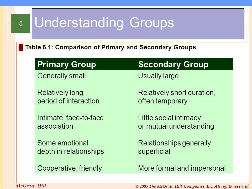 Understanding Groups Primary Group Secondary Group