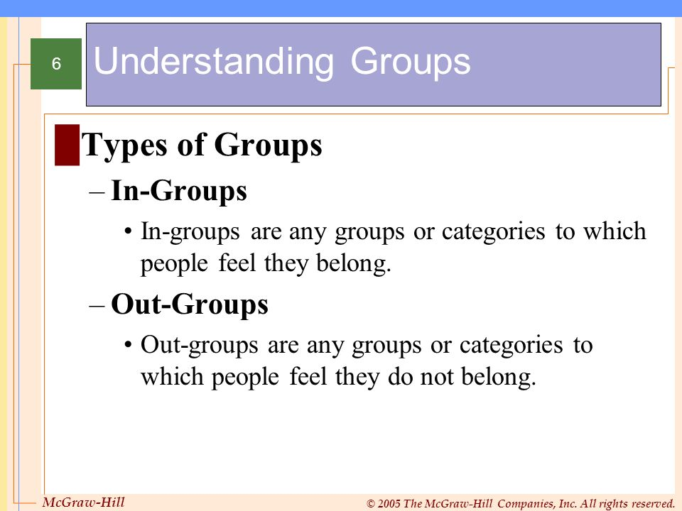 Understanding Groups Types of Groups In-Groups Out-Groups