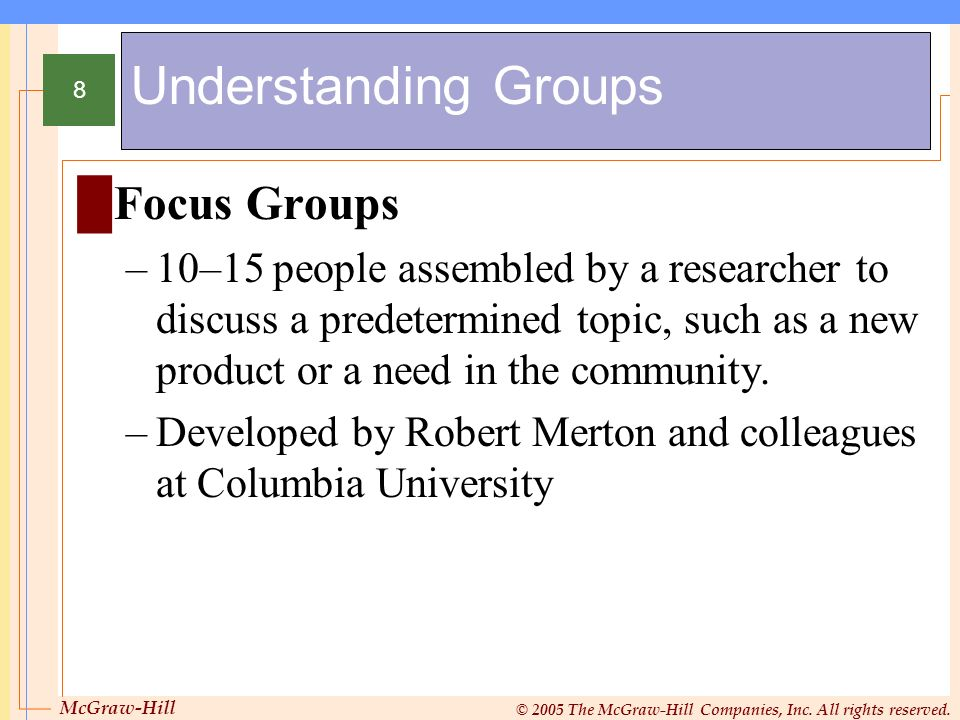 Understanding Groups Focus Groups