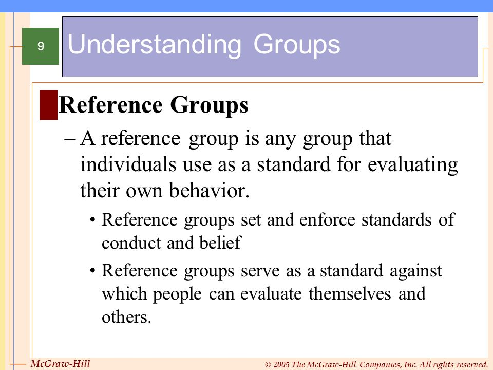 Understanding Groups Reference Groups