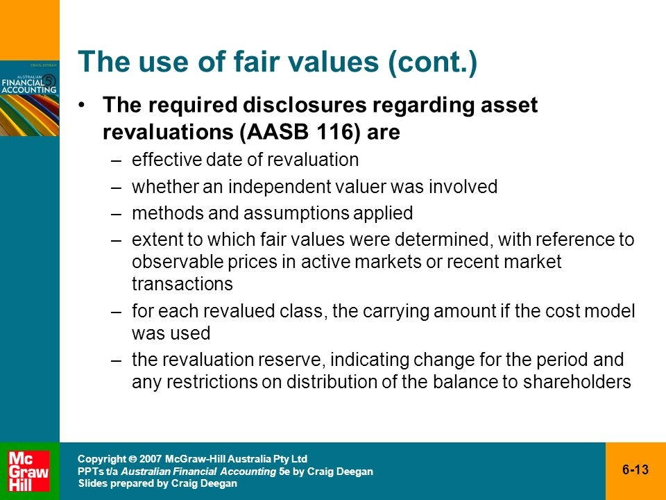 The use of fair values (cont.)