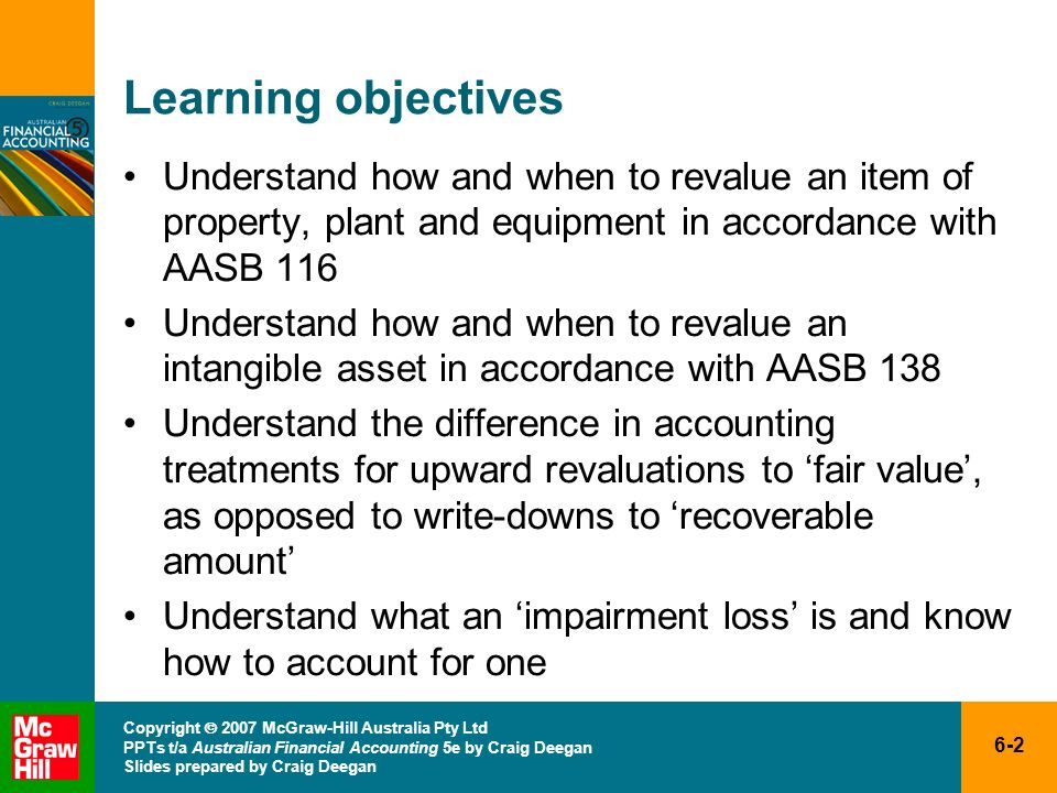 Learning objectives Understand how and when to revalue an item of property, plant and equipment in accordance with AASB 116.