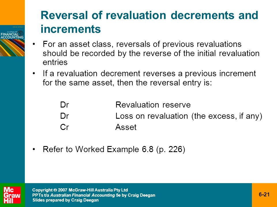 Reversal of revaluation decrements and increments