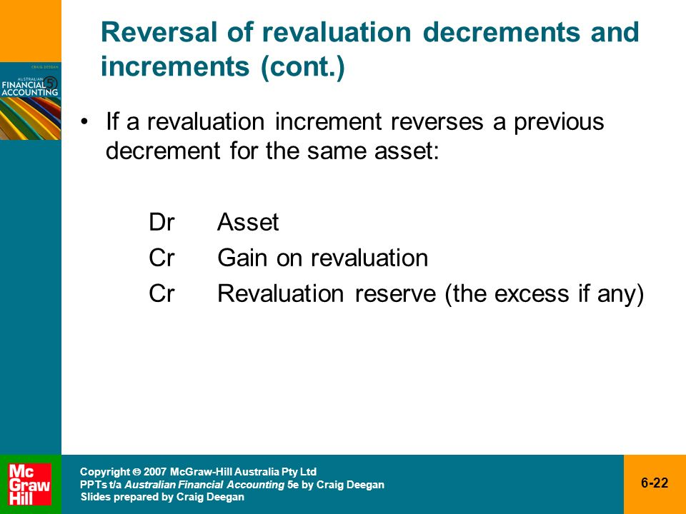 Reversal of revaluation decrements and increments (cont.)