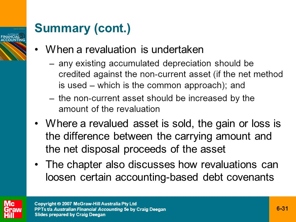 Summary (cont.) When a revaluation is undertaken