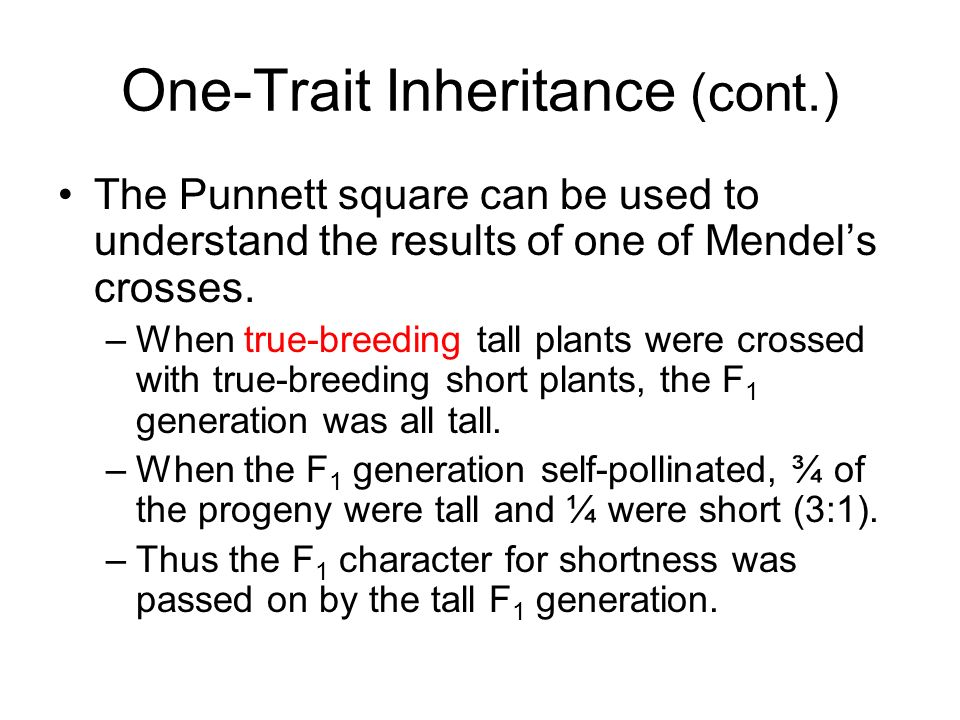 One-Trait Inheritance (cont.)