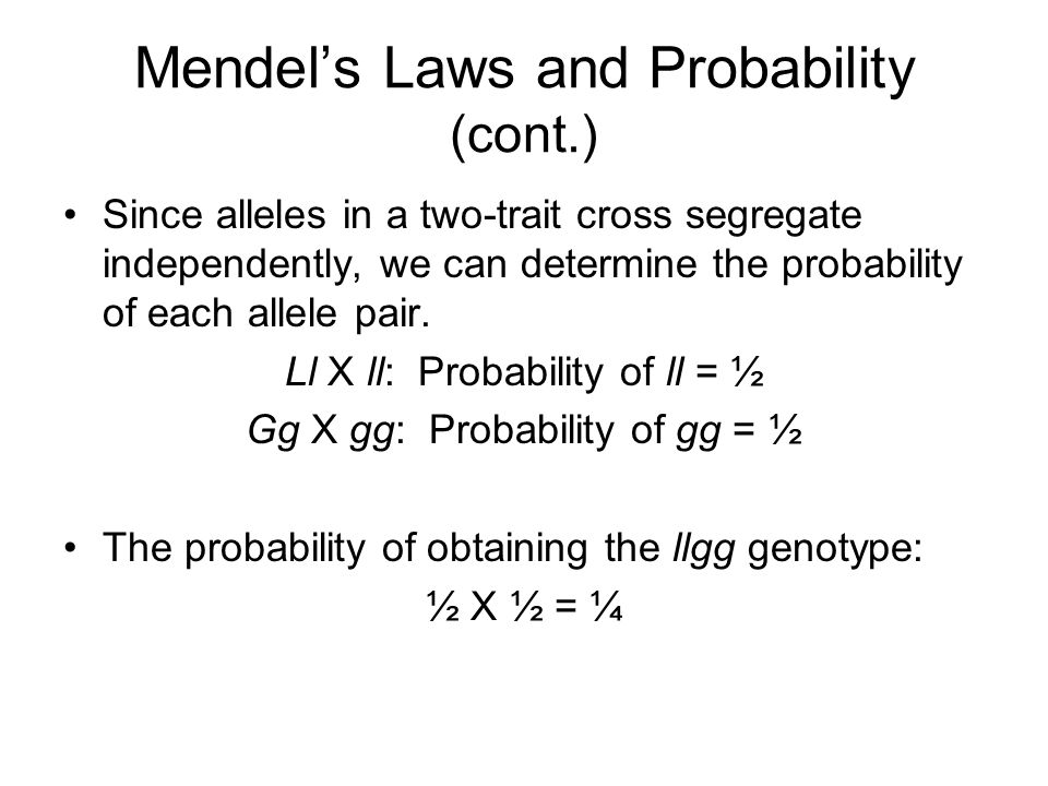 Mendel's Laws and Probability (cont.)