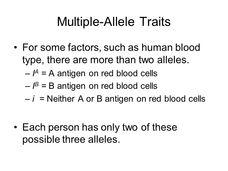 Multiple-Allele Traits