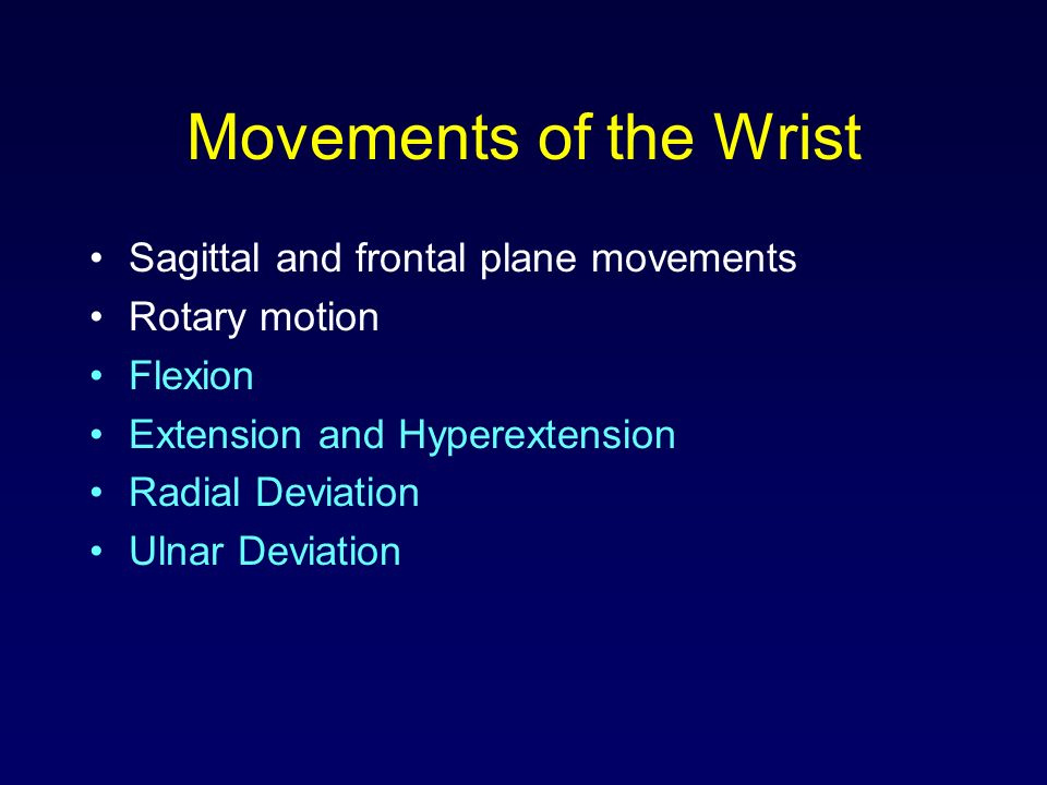 Movements of the Wrist Sagittal and frontal plane movements