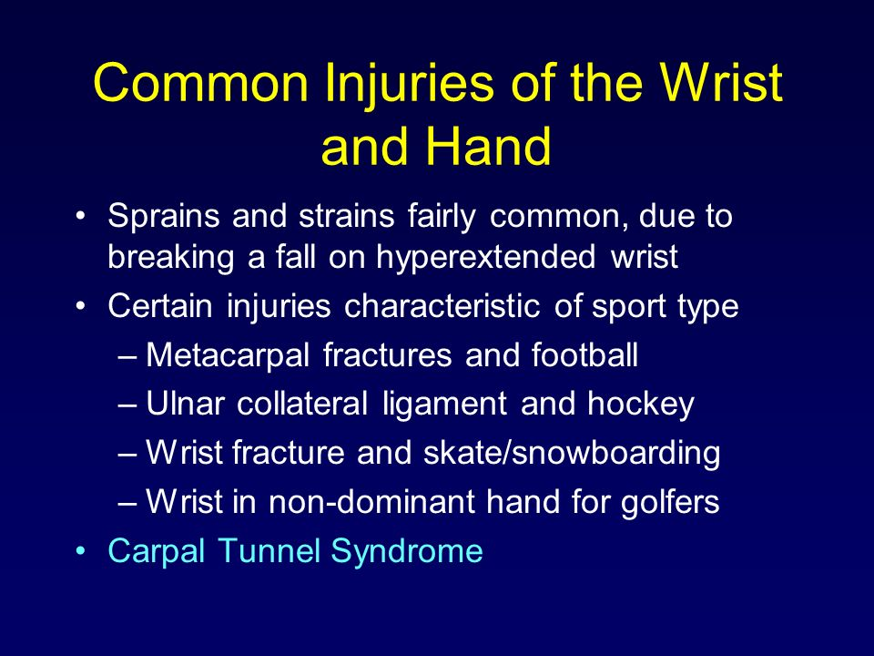 Common Injuries of the Wrist and Hand