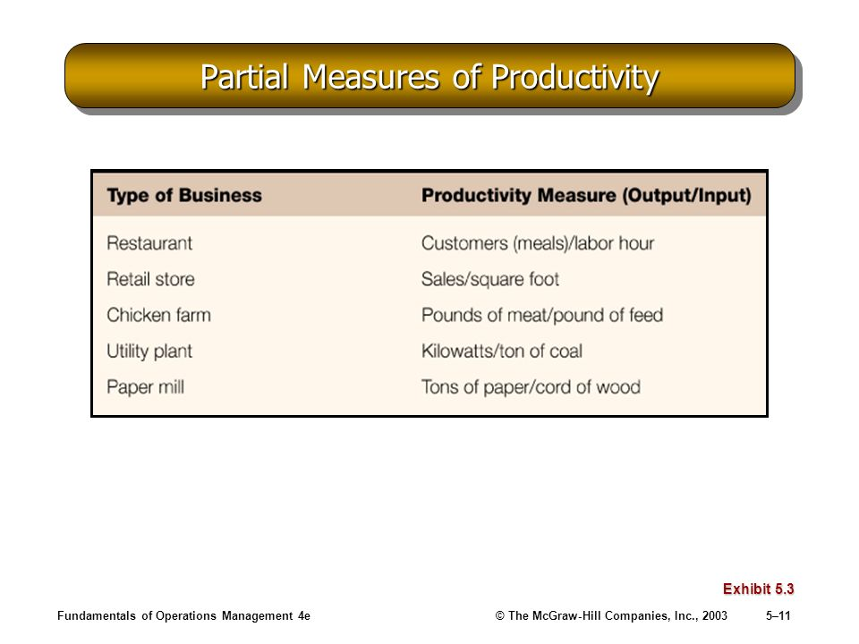 Partial Measures of Productivity