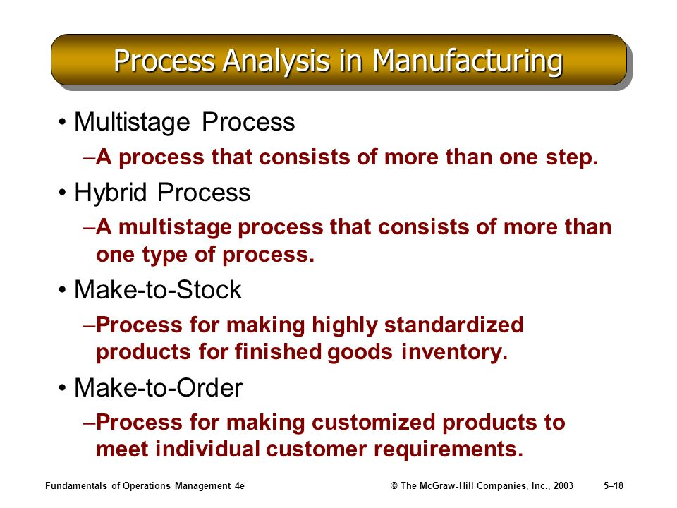 Process Analysis in Manufacturing