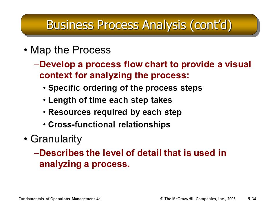 Business Process Analysis (cont'd)