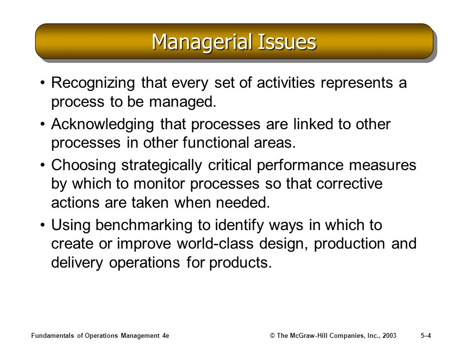 Managerial Issues Recognizing that every set of activities represents a process to be managed.