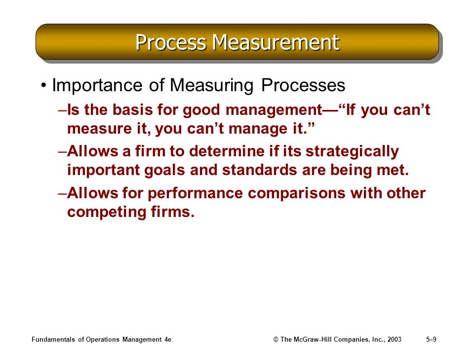 Process Measurement Importance of Measuring Processes