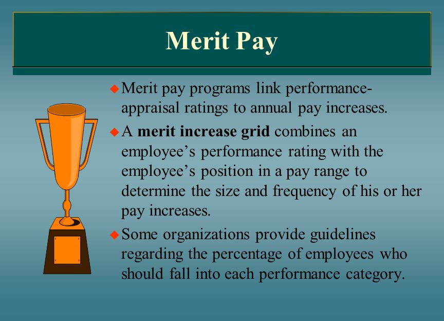 Merit Pay Merit pay programs link performance-appraisal ratings to annual pay increases.