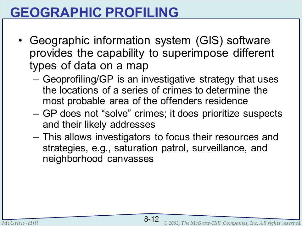 GEOGRAPHIC PROFILING Geographic information system (GIS) software provides the capability to superimpose different types of data on a map.