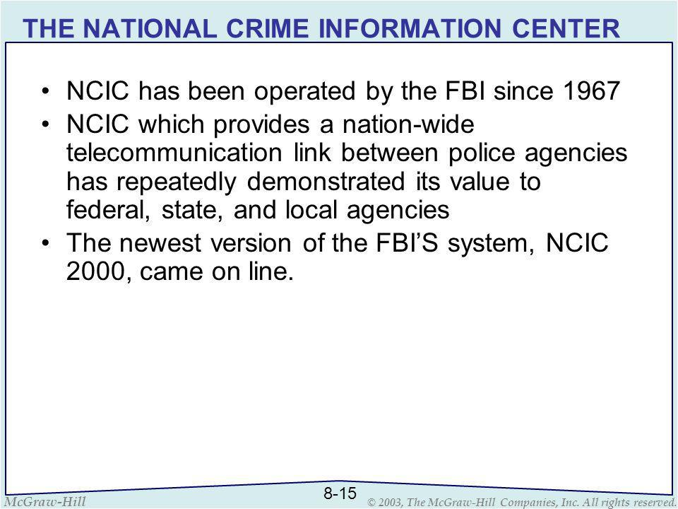 THE NATIONAL CRIME INFORMATION CENTER