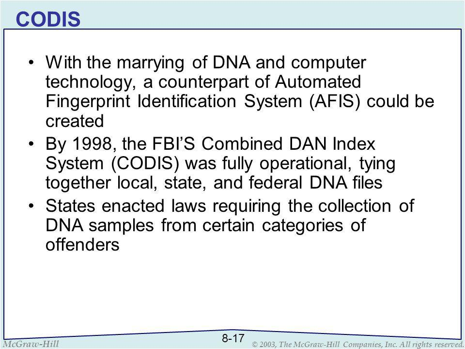 CODIS With the marrying of DNA and computer technology, a counterpart of Automated Fingerprint Identification System (AFIS) could be created.