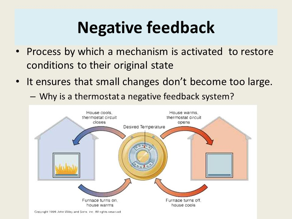 Negative feedback Process by which a mechanism is activated to restore conditions to their original state.