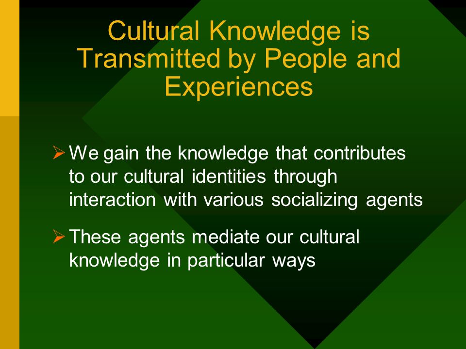 Cultural Knowledge is Transmitted by People and Experiences