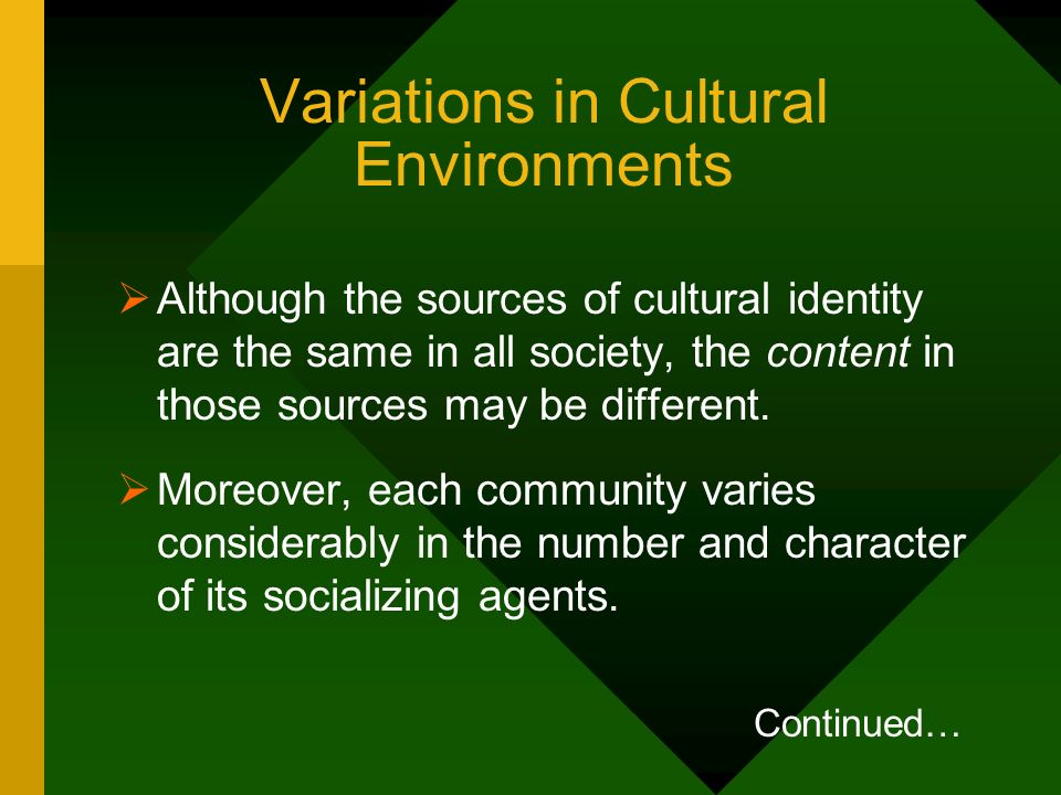 Variations in Cultural Environments