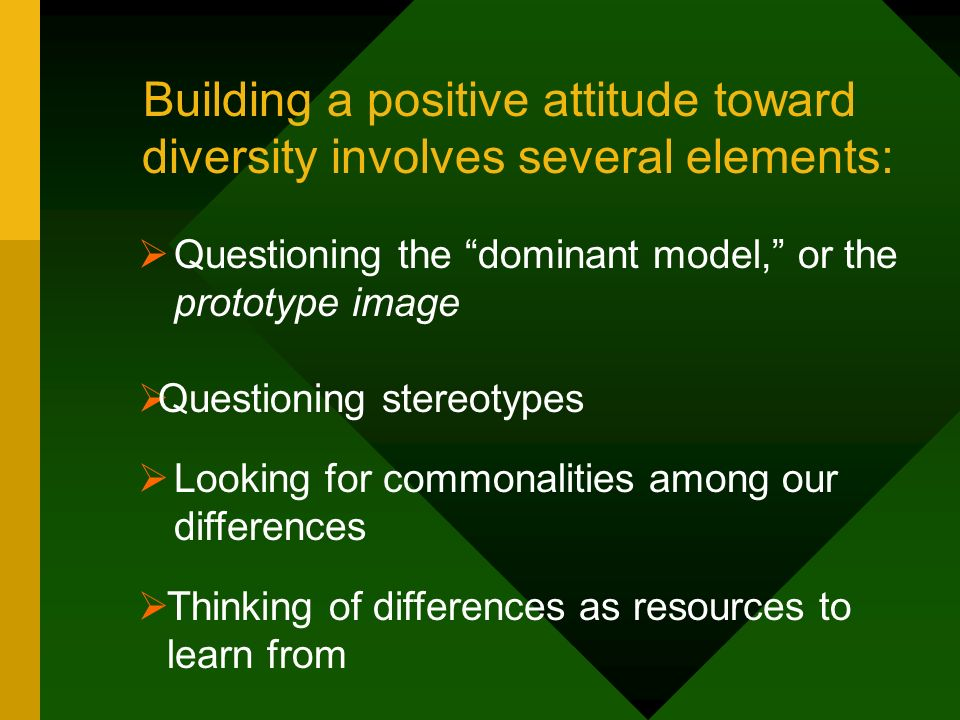 Building a positive attitude toward diversity involves several elements: