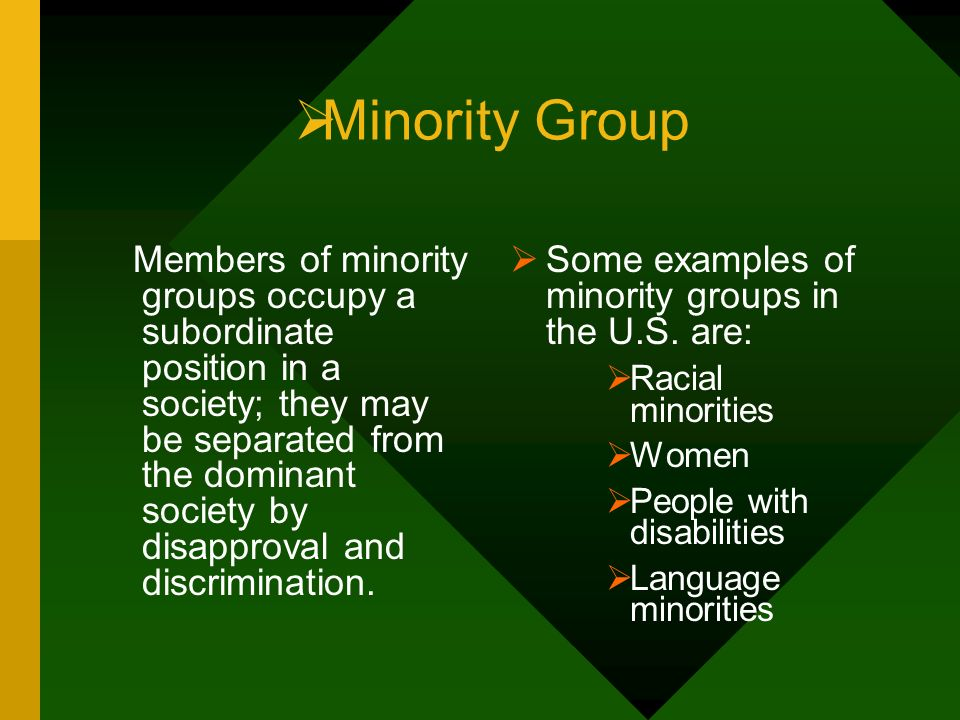 Minority Group Some examples of minority groups in the U.S. are: