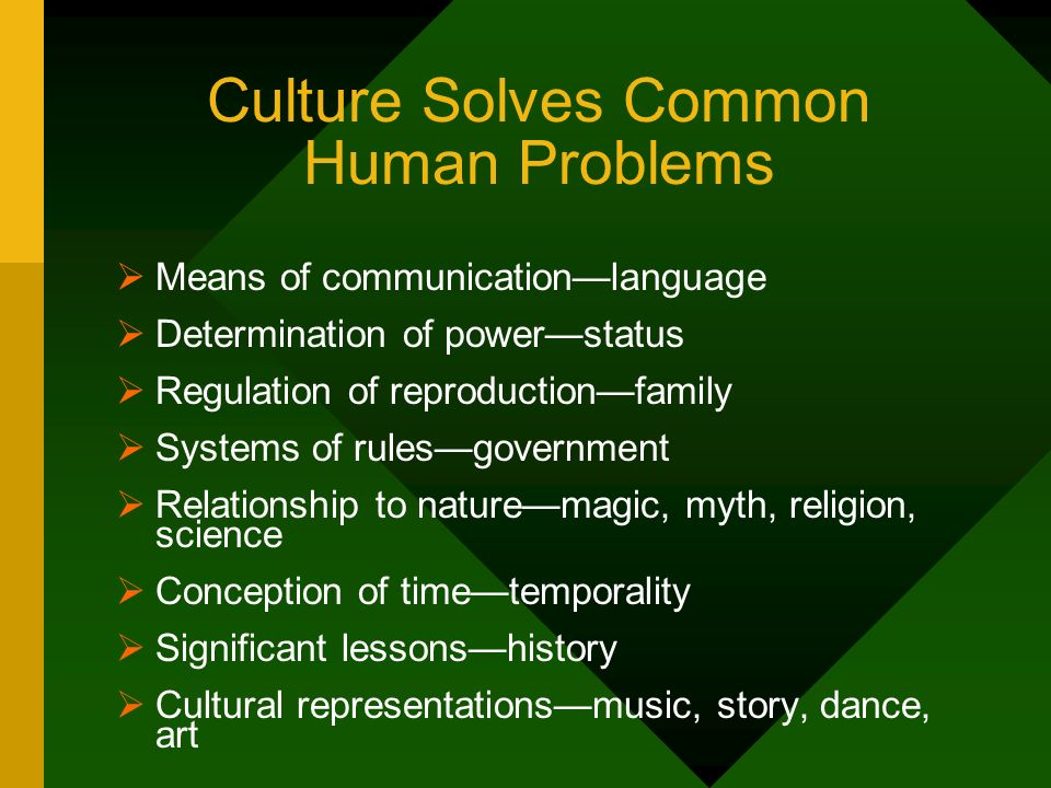 Culture Solves Common Human Problems