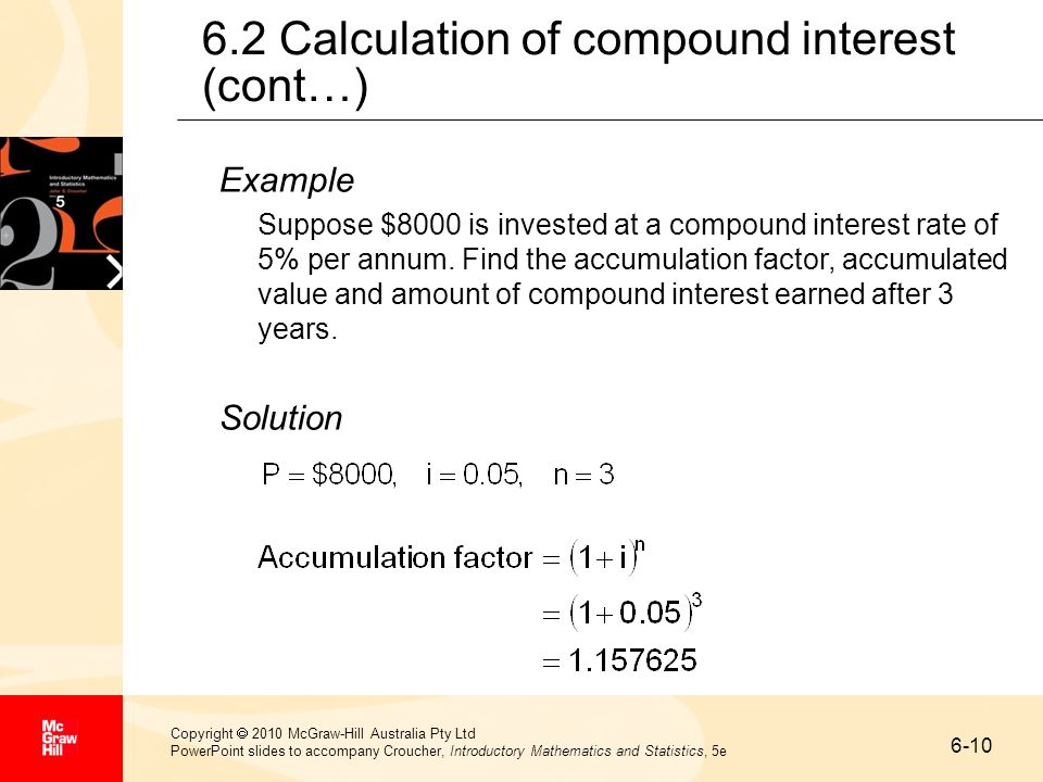 6.2 Calculation of compound interest (cont…)