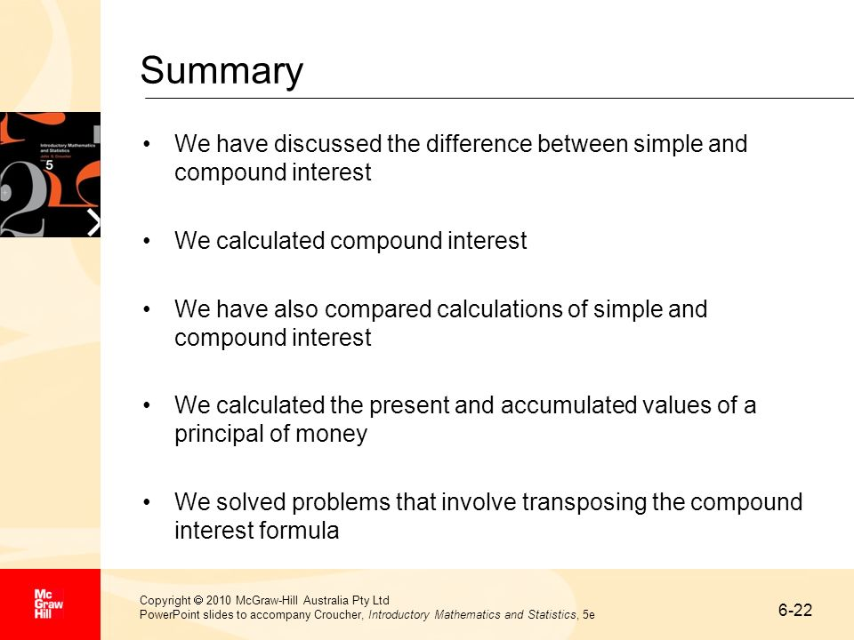 Summary We have discussed the difference between simple and compound interest. We calculated compound interest.
